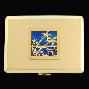 Gold Palm Tree Metal Wallet or Cigarette Case