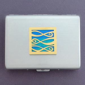 Ribbons Metal Credit Card Holder or Cigarette Case