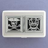 Pirates Skull & Crossbones Metal Wallet Cigarette Case