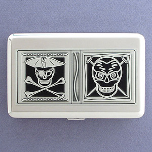 Pirates Skull & Crossbones Metal Wallet Cigarette Case