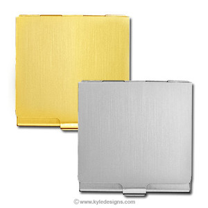 Engraved Square Business Card Cases in Silver or Gold
