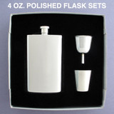 Engraved 4 Oz Mirrored Gift Flask Sets
