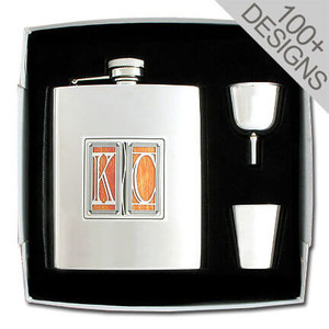 Unique Engravable 8 Oz Flask Gift Set