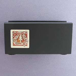Recycling Symbol Wooden Office Desk Business Card Holder