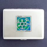 Caffeine Molecule Metal Credit Card Holder or Cigarette Case