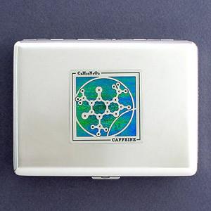 Caffeine Molecule Metal Credit Card Holder or Cigarette Case