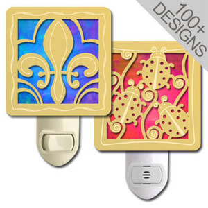 Personalized Stain Glass Night Lights in 100s of Polished Gold Designs