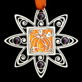 Pumpkin Christmas Ornament in Silver with Amber