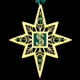 Currency Christmas Ornament in Gold with Forest Green