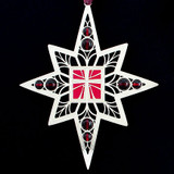 Christian Cross Religious Ornaments in polished silver with garnet