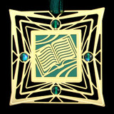 Good Book Ornament - Gold & Green