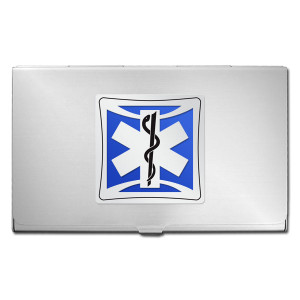 Emergency Medical Technician Business Card Case - Silver & Blue