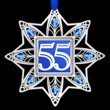 55th Anniversary Christmas Ornament in Silver & Blue