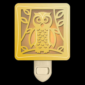 Decorative Owl Night Light - Amber & Gold