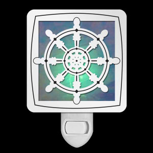 Stained Glass Ship Wheel Night Light - Silver
