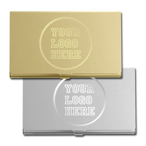 Logo Engraved Business Card Holder Cases - Silver & Gold