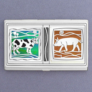 Farm Animal Business Card Holder in Metal