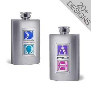 Personalized Greek Two-Letter Flasks 6 Oz