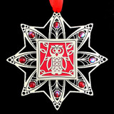 Red Owl Beaded Christmas Ornament in Silver