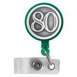 Green Number 80 Retractable Badge Holders