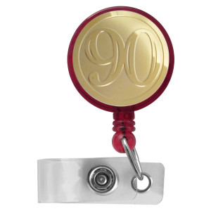 Red & Gold Number 90 Reel for ID Badge