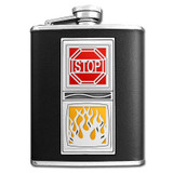 Firefighter Flame Flask 6 Oz Black