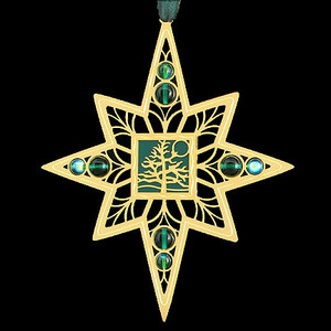 Tree of Life Christmas Ornament in gold with forest green
