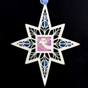 Engraved Angel Holiday Ornament in Polished Silver with Lavender