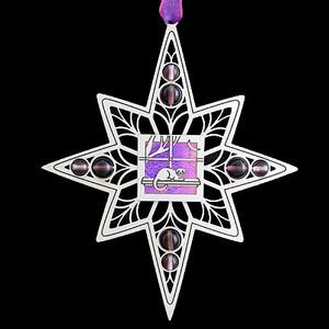 Unique Cat Ornament in silver with lavender