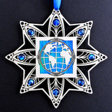 Etched Metal World Christmas Ornament with Ocean Blue.