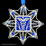 Doctor Christmas Ornaments in silver with blue and sapphire glass beads