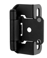 Amerock BP7550-FB Self-Closing, Partial Wrap 1/2-Inch Overlay Hinge, Flat Black - (2-pair)