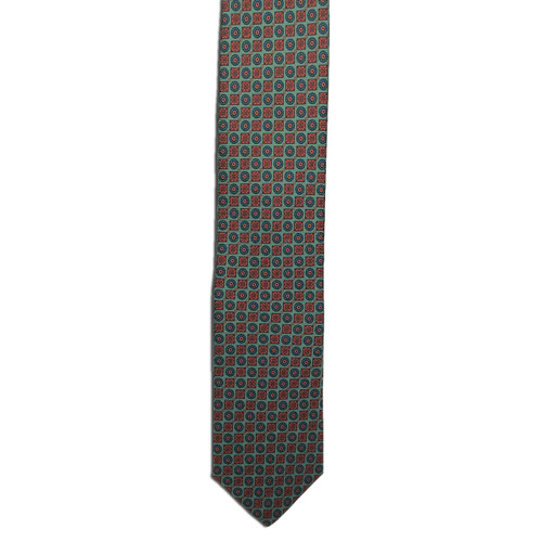Green Ancient Madder Small Print Tie