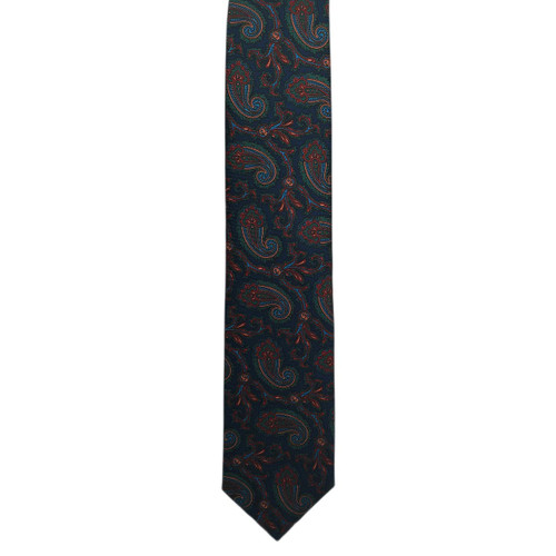 Navy Ancient Madder Paisley Print Tie