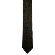 Olive and Wine Paisley Wool Challis Tie