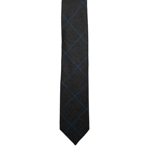 Grey  Windowpane Scottish Cashmere Chipp Tie