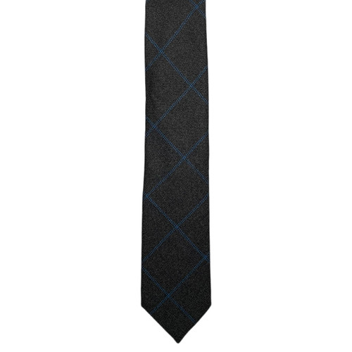 Grey  Windowpane Scottish Cashmere Chipp Tie