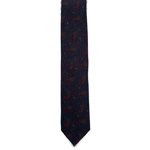 Navy Paisley Wool Challis Tie