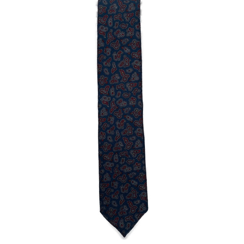Navy Small Bean Wool Challis Tie