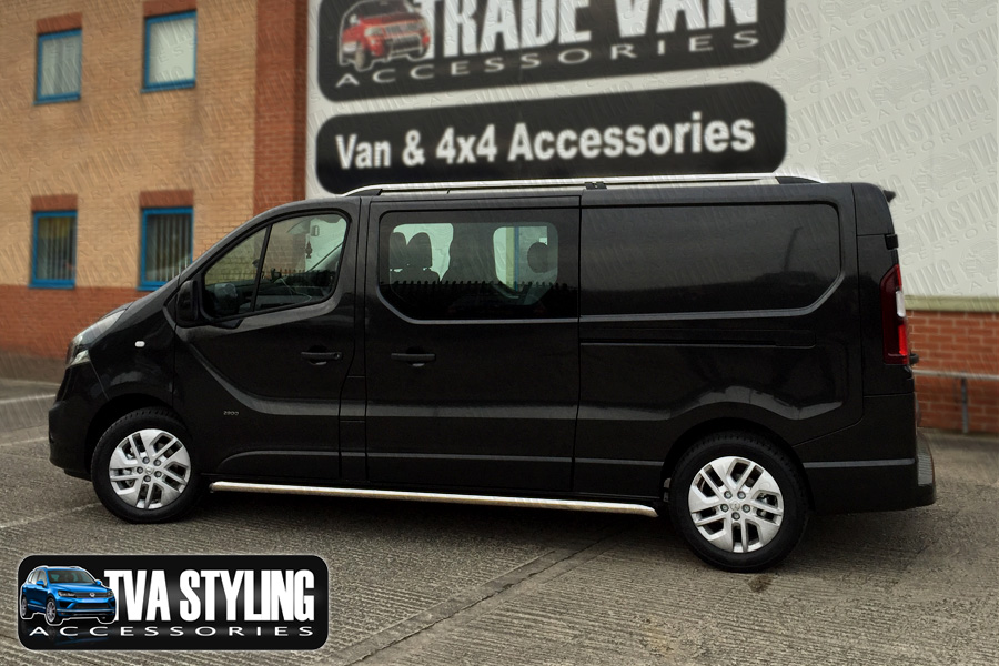 Our TX3 Sahara Roof Rails for LWB Vauxhall Vivaro are a great and practical addition for your Van. Buy online at TVA Styling.