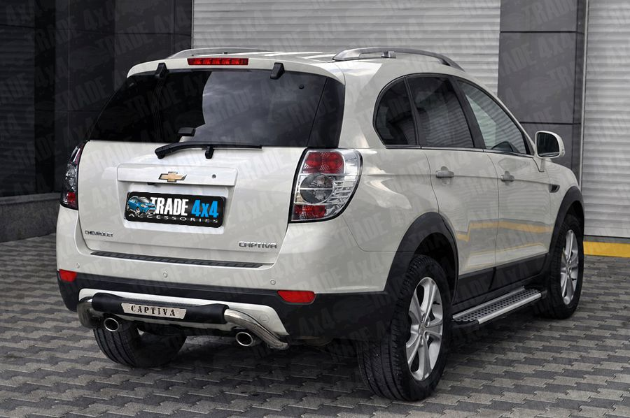 Our Chevrolet Captiva Rear Step Bar, Bumper protection bars are a great Captiva Styling Accessory made from chrome look hand polished Stainless Steel tube. Buy online at Trade 4x4 Accessories