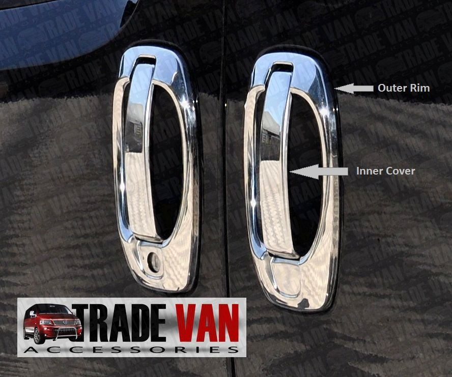 Our Citroen Nemo Door Handle Covers Stainless Steel are made from chrome look hand polished Stainless Steel. Buy online at Trade Van Accessories.