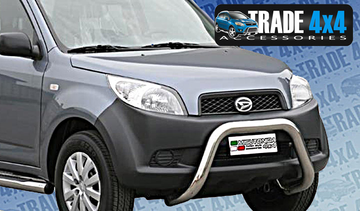 Great photo of Daihatsu Terios A Bar and Daihatsu Terios Front Styling Bars on a new Ford 4x4. Availbale online at Trade 4x4 Accessories. We also have stainless Steel Side Steps and Chrome Door Handles - Mirror covers and more