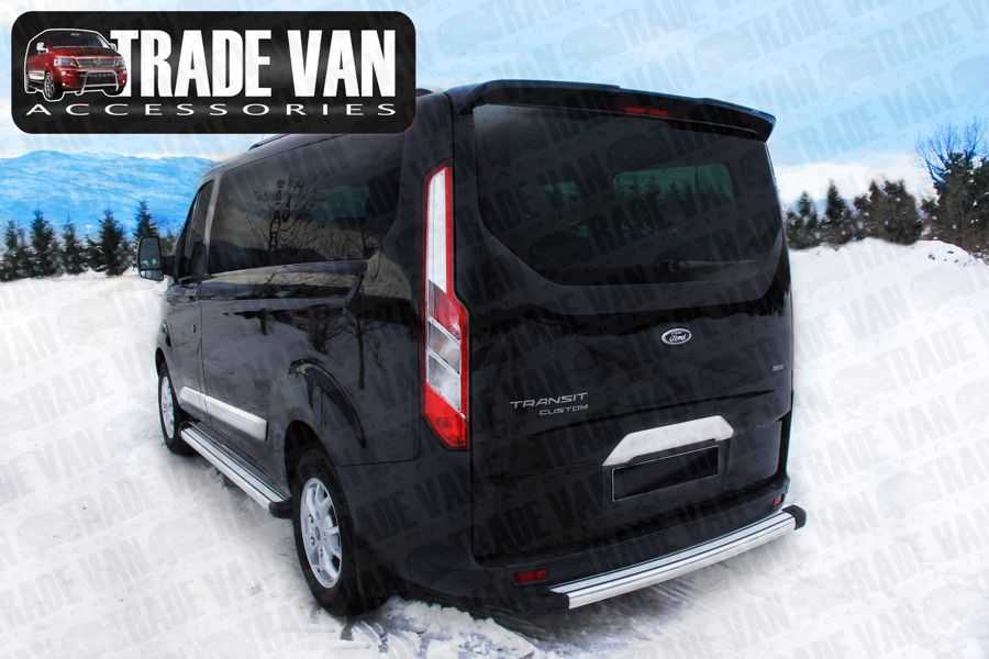 Our Rear Tailgate Spoilers and Twin Rear Door Spoilers upgrade your Ford Transit Custom Van and Torneo Models. Buy online at Trade Van Accessories