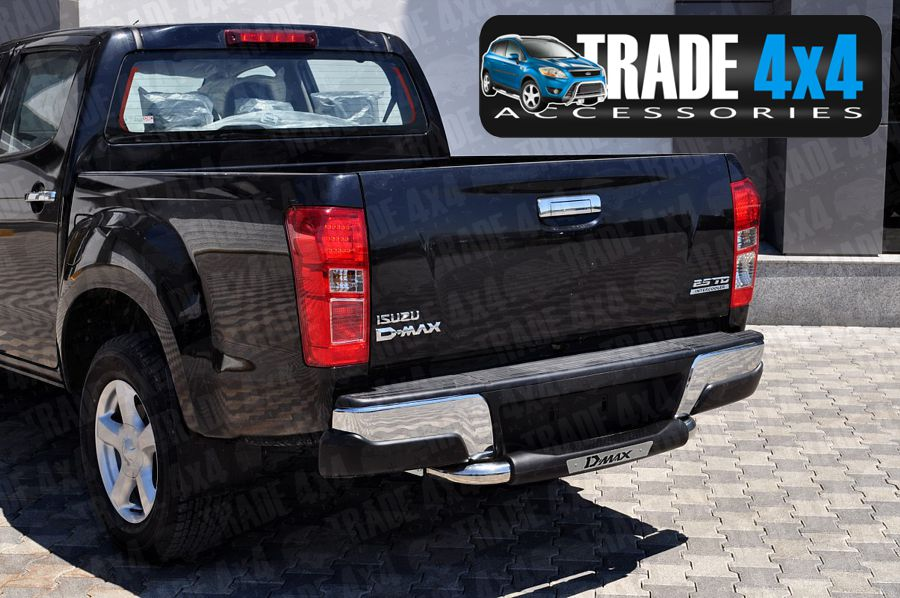 Our Isuzu D-Max Rear Step Bar, Bumper protection bars are a great DMax Styling Accessory made from chrome look hand polished Stainless Steel tube. Buy online at Trade 4x4 Accessories