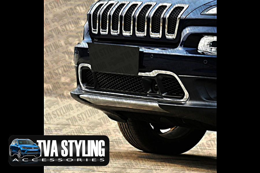 Our chrome Jeep Cherokee KL front bumper grille cover is an eye-catching and stylish addition for your car. Buy online at Trade car Accessories.