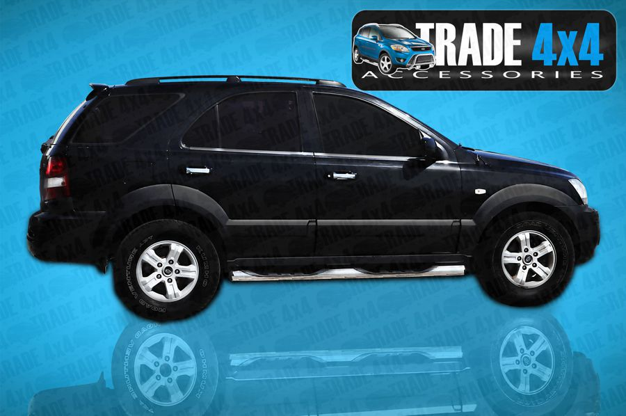 Our Stainless Steel Side Steps Rear Bars and Chrome look 4x4 Accessories for the New Kia Sorento SUV are excellent quality and best prices in the UK. Buy from our factory outlet at Mansfield Nottingham UK