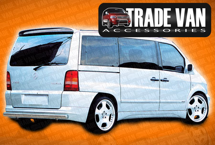 Our Mercedes Vito Rear Bar and Bumper protection bars are a great vito Styling Accessory made from chrome look hand polished Stainless Steel tube. Buy online at Trade Van Accessories