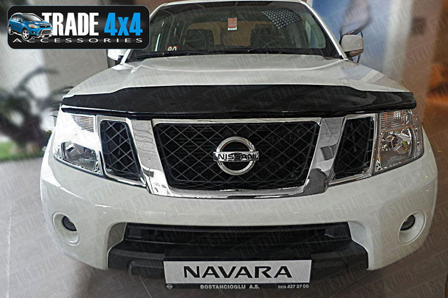 Our dark tinted Nissan Navara 2005-10 bug shield bonnet guard really enhances the front styling of your Navara 4x4. Beautifully formed using superior Smoked tinted Acrylic. Buy online at Trade 4x4 Accessories.