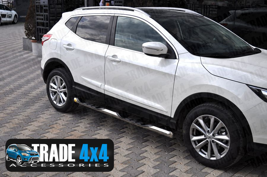 Our Nissan Qashqai 2014 BB005 Side Bars really upgrade your Nissan Qashqai 2014 SUV 4x4. These stainless steel sidebars will fit all Qashqai 2014 models including Visia, Acenta & Tekna. Buy all your 4x4 accessories online at Trade 4x4 Accessories.